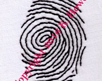 Fingerprint Hand Embroidery Pattern, Crime, Detective, Evidence, Finger Print, Police, Mystery, PDF