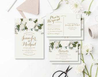 Vintage Wedding Invitation RSVP Postcard Info Card Set Fall Wedding Vintage Floral Floral Wedding Vintage Wedding Wedding Set #CL112