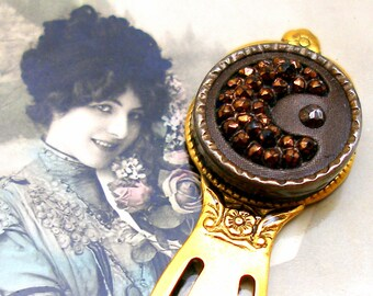Crescent MOON, Antique BUTTON bookmark, Victorian black glass with copper moon & star. Present, gift.