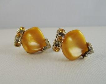 Vintage Butterscotch Moonglow Rhinestone Earrings Celluloid