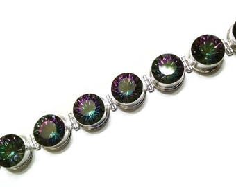 Mystic Quartz and Sterling Silver Bracelet