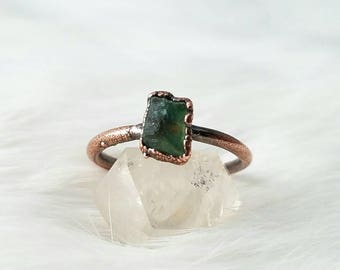 Size 9 green apatite stacker ring electroformed copper crystal ring