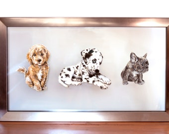 Trio of Puppies Framed Art