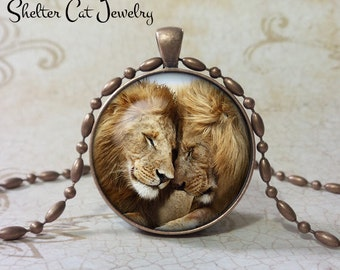 "Lions in Love Necklace - 1-1/4"" Circle Pendant or Key Ring - Handmade Wearable Photo Art Jewelry - Nature Art - Wildlife - Gift"