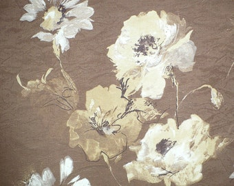"Floral print Decorator fabric, Cocoa, Cream, Gold, Upholstery, Decorating, 58"" wide"