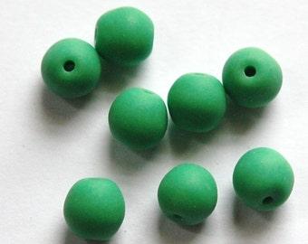 Vintage German Matte Green Glass Beads grm056B