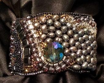 Moonlit Path bead embroidery bracelet