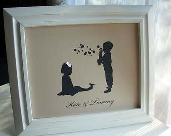 Childrens Silhouette Art Print - Boy, Girl, Siblings - Select from many silhouette choices - 8x10 size by Le Papier Studio