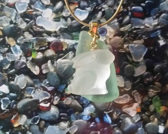 Rabbit sea glass necklace
