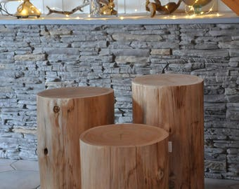 Set Of 3 Tables Tree Trunk Wood Side Table, Stool, Log, End Table