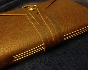 Handmade Leather Journal with Tea-Stained Paper