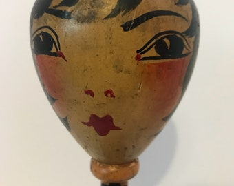 1920's Wooden Flapper Painted Face Hat Stand! nice!