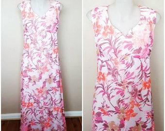 SALE   Vintage 1970s Habe Garments Pink Floral Maxi Evening Dress Size S