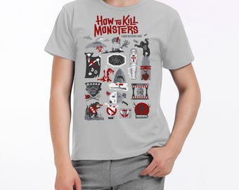 Kill Monsters t shirt- movie monsters- gifts for horror fans- monster survival guide- zombie survival- t-shirt- movie tropes- slasher movies