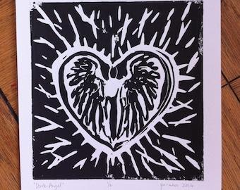 Dark Angel Linocut Print
