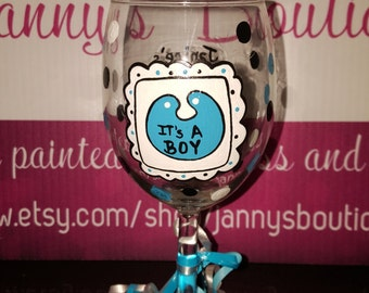 It's a Boy, It's a Girl handpainted wine glass