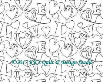All My Love - Longarm Digital Quilting Pattern  Edge to Edge Instant Download