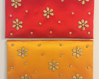 Satin Fabric Gift Envelope, Shagun, Money Envelope, Gift card Envelope for Weddings, Birthday, Anniversary or any special occasion