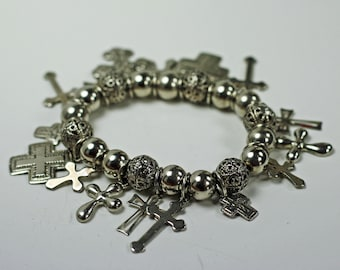 Vintage Silver Tone Cross and Bead Charm Bracelet