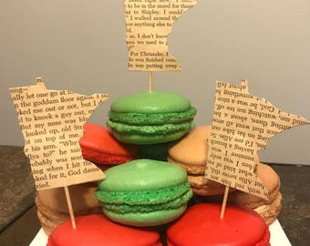 Upcycled Book Minnesota Cupcake Toppers