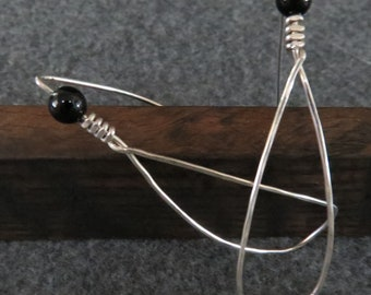 Sterling Siver Hammered Silver Earrings with Onyx Bead