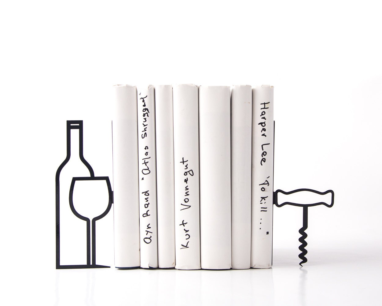 Metal kitchen bookends less whine more wine modern home for Modern home decor for less