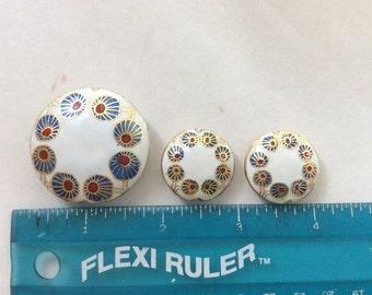Cloisonné  beads (3 pieces) Round Buds
