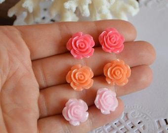 xmas gift for her tiny stud christmas present small stud earrings rose post earrings flower earrings pink baby pink rose pink Jewelry gift
