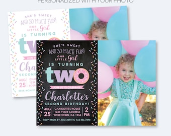 Donut 2nd Birthday Invitation with Photo, Sprinkles Birthday Party, Second Birthday Girl Invite, Personalized Invitation, 2 options