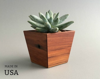 Modern Wood Planter, Indoor Planter In Dark Wood, With Angled Sides,  Reddish Tone