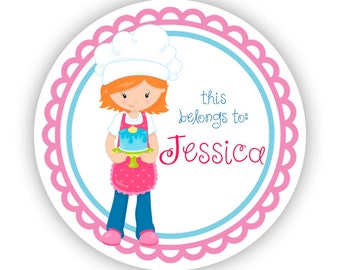 Name Label Personalized Stickers - Pink Blue Baker Girl, Cake Baking Name Tag Sticker Labels, This Belongs To - Back to School Name Labels