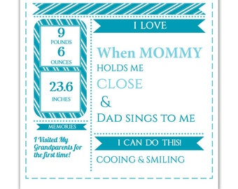 DIY Editable pdf Monthly Growth Chart Baby Boy Blue Birth Stats Infographic, Art Print Keepsake, Photo Prop, Instant Download letter size
