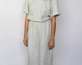 modern love -- vintage 80s/90s Maggie London natural linen dress M/L