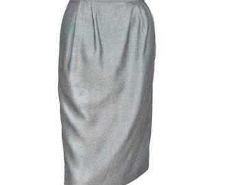 Skirt Vintage Pencil Skirt Straight Skirt Silver Gray Mad Man Wiggle Skirt Size 8 - 27 Inch Waist Skirt