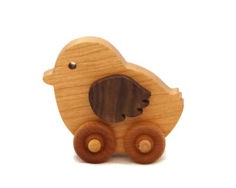 Wooden Toy Chicken Car, Children Toy Car, Toddler Toy Car, Baby Chicken Push Toy Car