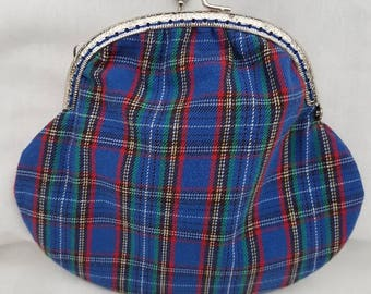 Large Tartan Kiss Clasp Coin Purse/Change Purse.