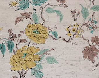 1950s Vintage Wallpaper Yellow Flowers Aqua and Brown Leaves on White by the Yard