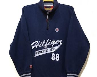 Vintage Tommy Hilfiger big logo hip hop sweatshirt Half zipper spell out blue colour