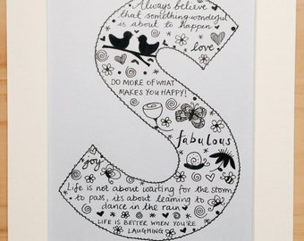 Initial picture, Letter art, Personalised, Illustrated picture, Handmade, Wall art, Birthday present, Personalized gift, Made to order