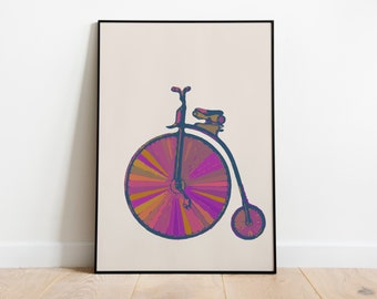 Vintage Old-Fashioned Bike Colorful Art Print in Purple, Gold, and Orange