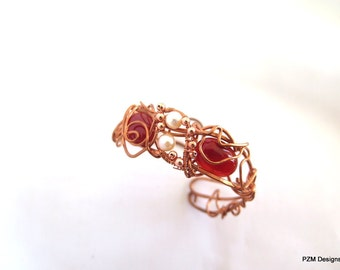Carnelian and Copper Wire Wrapped Cuff, Captured Gemstone Cuff, Gift for Her