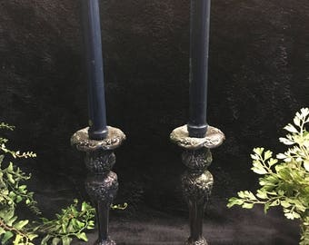 """Pair of Barbour Silver Plate 9 1/2"""" Repousse Candlesticks"""