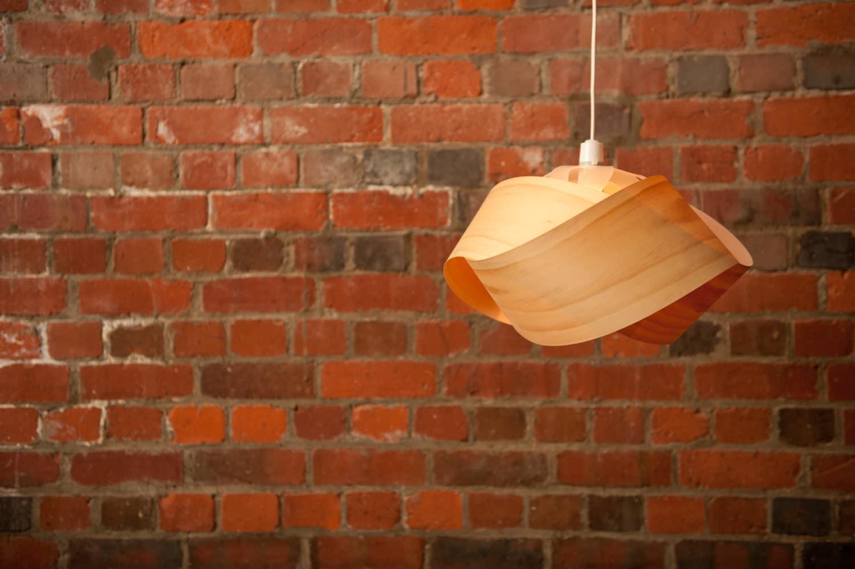 Wood veneer pendant light shade twist zoom mozeypictures Choice Image