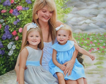 Custom portrait-custom family portrait-oil painting-custom oil portrait painting-painting from photo-childrens portrait-personalized ETSY