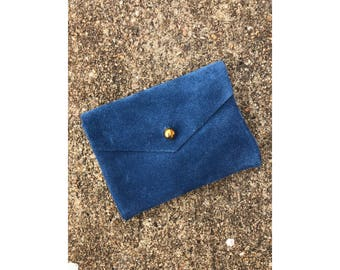 Limited Edition CARD WALLET Pale Blue Suede Leather • Business Card Holder • Credit Card Case
