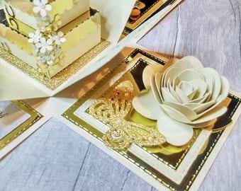 Golden Wedding Anniversary exploding box card, 50 years