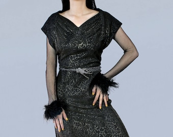 Rare 1930s Dress/ 30s Black and Silver Metallic Lame OPEN BACK Gown / Fishnet Sleeves /  Ostrich Cuffs