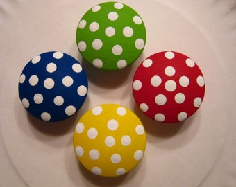 "Set of 8 Knobs - PRIMARY COLORS & Polka DOTS -  1 1/2"" knobs - Hand Painted  Wooden Knobs"