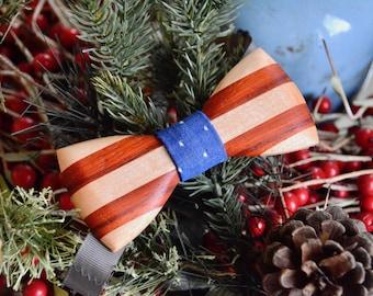 American Flag Wooden Bow Tie - Americana    Wood Bow Ties Mens Bow Ties Groomsmen Gifts Bowties