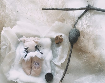 Little Flower Keeper, keepsake, art piece, textile art, treasure, gifts for her